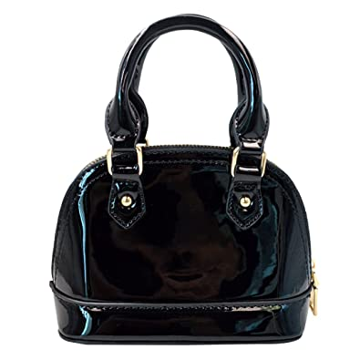 Monique Women Bright Patent Leather Handbag Shell Bag Small Travel Tote  Chain Cross-body Bag dc3aab6e27630
