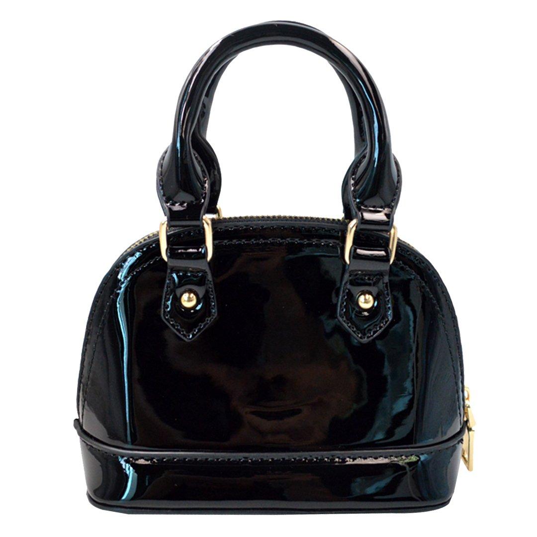 Monique Women Bright Patent Leather Handbag Shell Bag Small Travel Tote Chain Cross-body Bag Satchel 514 Black
