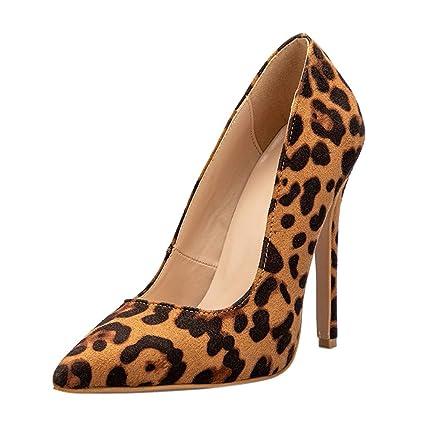 f74ba1edff3f1 Amazon.com: Wulofs Women Ladies Leopard Pointed Toe Slingbacks ...