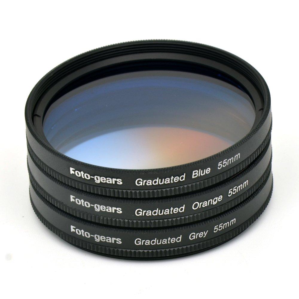 55mm Graduated Colour Filter set Graduated Grey + Blue + Orange Filter Kit