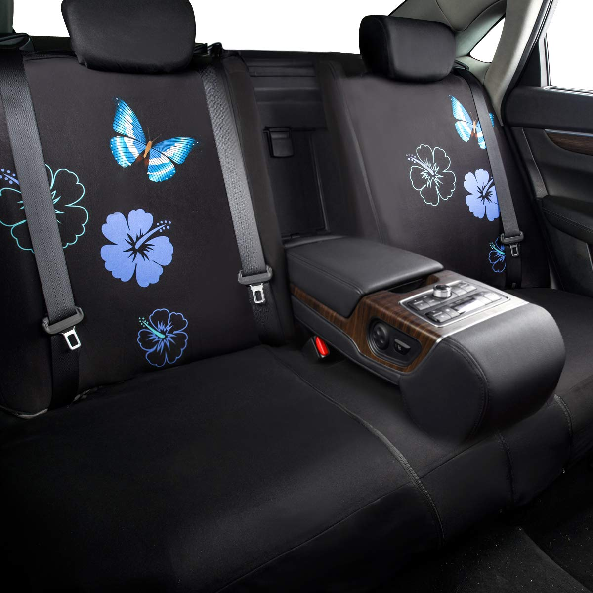 NEW ARRIVAL 2Front seat covers, Black and Purple color CAR PASS Flower And Butterfly Universal Car Seat Covers,Perfect Fit Suvs,sedans,Vehicles,Airbag Compatible