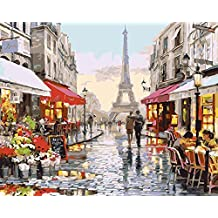 "CaptainCrafts New Paint by Numbers 16x20 "" for Adults Beginner Kids, Kids LINEN Canvas - Tower Of Paris (Frameless)"