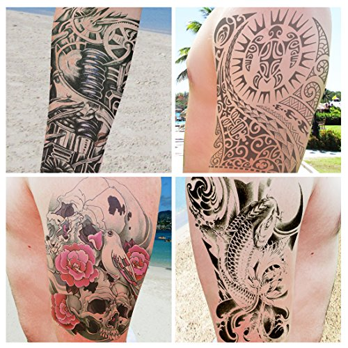8 Sheets Temporary Transfer Tattoos Transfers For Guys Men Boys & Teens - Fake Stickers For Arms Shoulders Chest Back Legs Tribal Koi Fish Skull Owl Clock Tattoo For Halloween - Realistic Waterproof