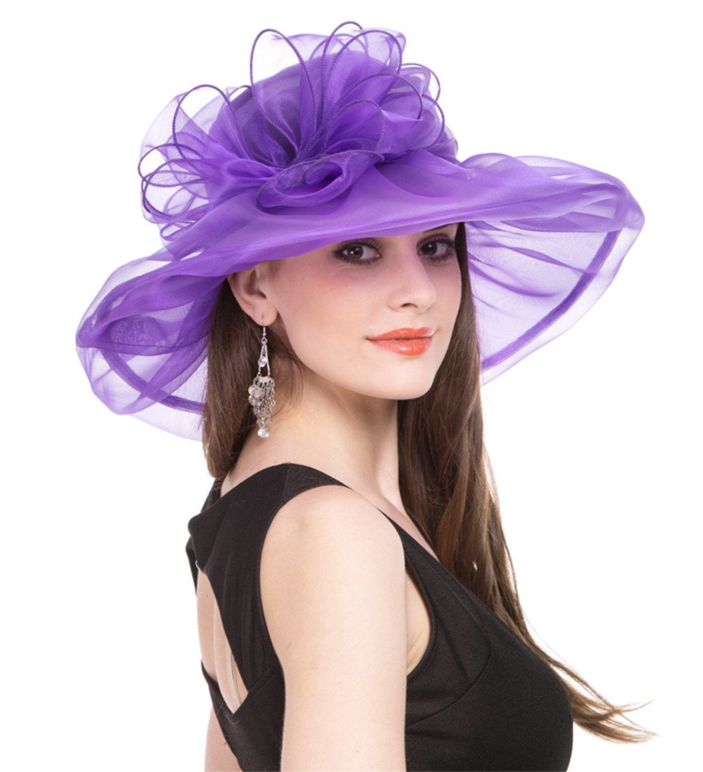 SAFERIN Women's Organza Church Kentucky Derby Fascinator Bridal Tea Party Wedding Hat (Purple Bowknot)