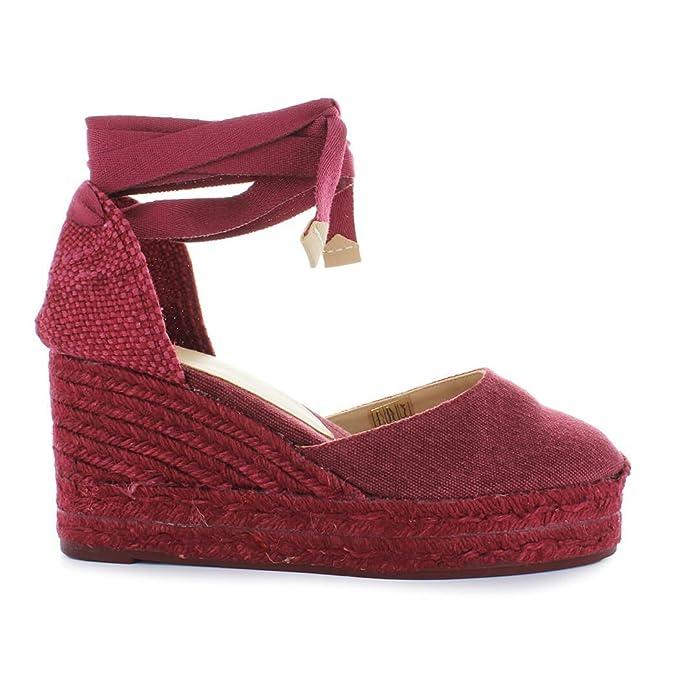 Zapatos de Mujer Alpargata con Cuña Carina Roja Castañer Primavera Verano 2018: Amazon.es: Ropa y accesorios