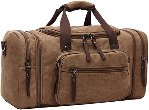 Crosslandy Canvas Travel Duffel Bag for Men Weekend Overnight Luggage Bag Brown