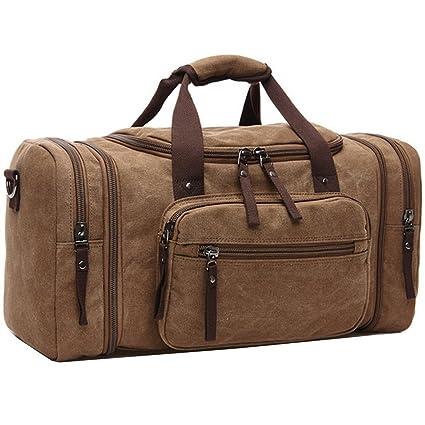 ZYSY Canvas Holdall Weekend Bag Bolsa de viaje Bolsa de viaje Bolsa de equipaje de mano para hombres y mujeres (café)
