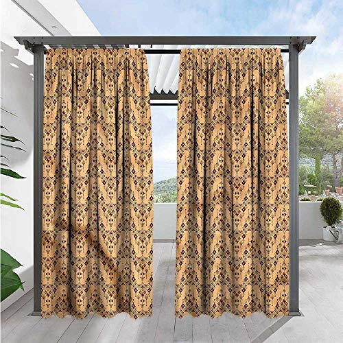"Marilds Geometric Outdoor Patio Curtains Vintage Tribal Peruvian Darkening Thermal Insulated Blackout 108"" W x 72"" L"