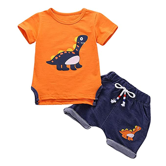 7e2a44aed Baby Boy Short Sleeve Top Shirt + Denim Dinosaur Shorts 2 Pcs Outfit  Clothes Set