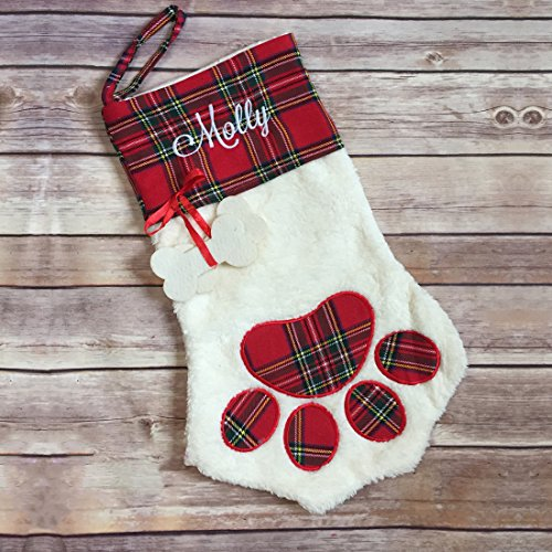 Personalized Pet Stockings - KOMIWOO Lovely Pet Paw Christmas Stocking for Dog or Cat 18-Inch Length (Dog)