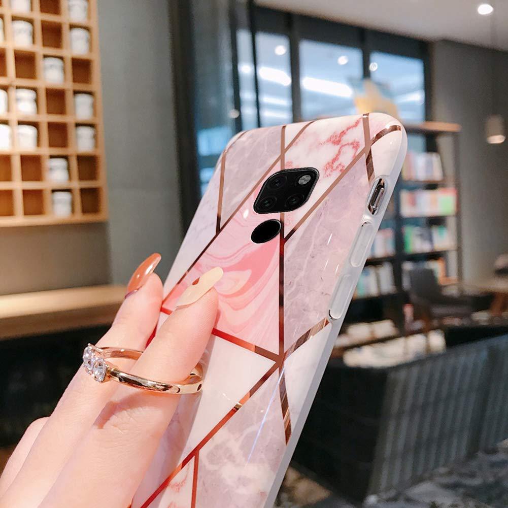 Herbests Kompatibel mit Huawei Mate 20 H/ülle Handyh/ülle Marmor Muster Gl/änzend Glitzer Bling Weich Silikon H/ülle Kratzfest Schutzh/ülle Tasche Crystal Case Ring Halter St/änder,Rosa