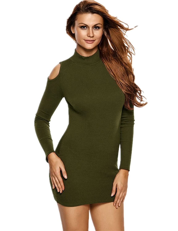 Foryingni Women's Ribbed Knit Turtleneck Long Sleeve Cut Out Shoulder Dress