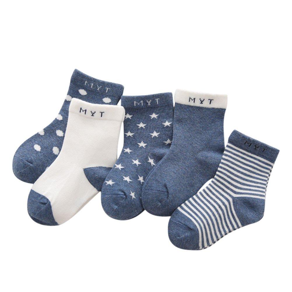 De feuilles 5er Pack Socken Baby Kinder 1-6 Jahre Weich Warm Unisex Kleinkind Streifen Sternen Wolke Socken Jungen Mädchen Fuß Socken Strümpfe