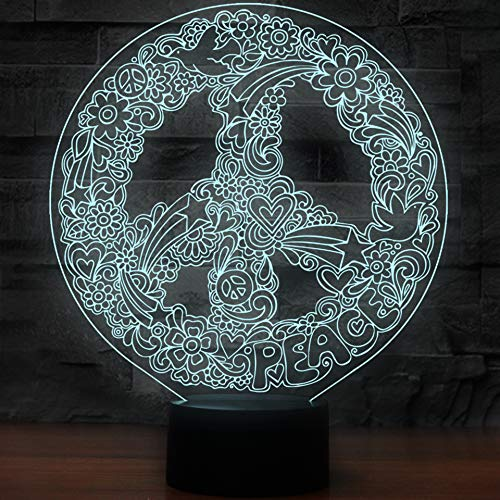 (Innovative 3D Art Hippie Peace Sign Shape Night Light Touch Table Desk Optical Illusion Lamps 7 Color Changing Lights Home Decoration Xmas Birthday)