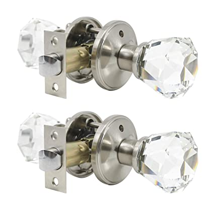 2 Pack Crystal Clear Glass Door Knobs In Diamond Shape Passage