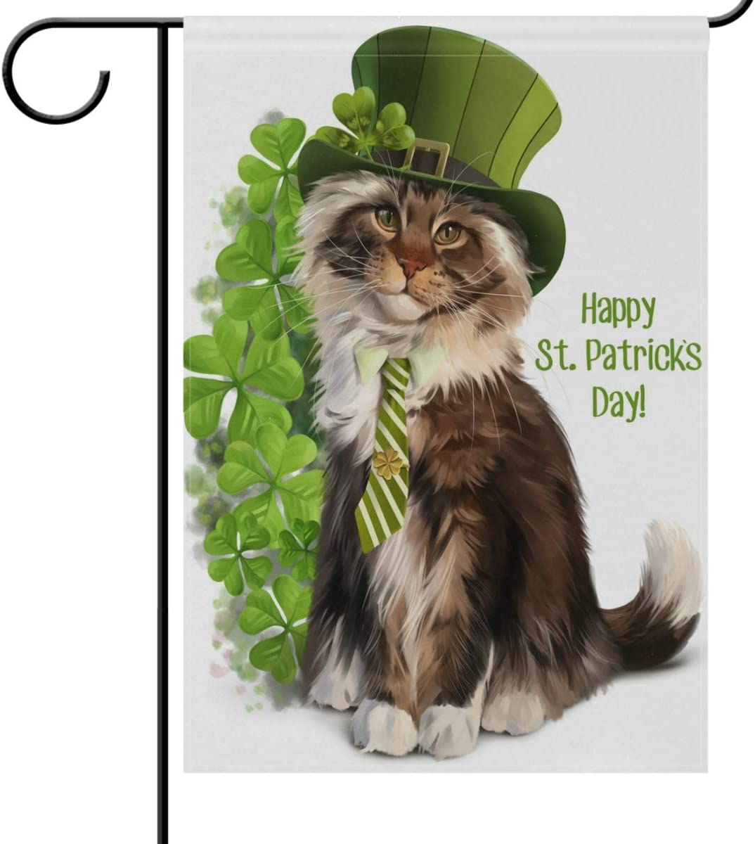St Patrick/'s Day Garden Flag Welcome Shamrocks Gnome Vertical Double Sided Gn...