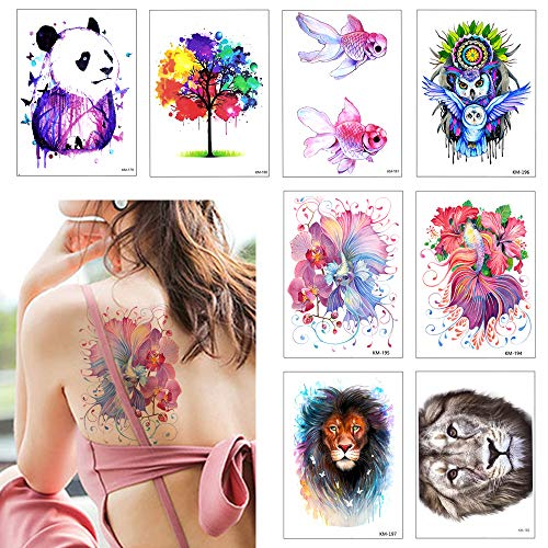 8 Sheets Colorful Fish Panda Owl Temporary Tattoo Sticker Waterproof Long Last Fake Tattoo for Kids Women