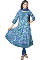 Blue Flower Print cotton Anarkali Suit