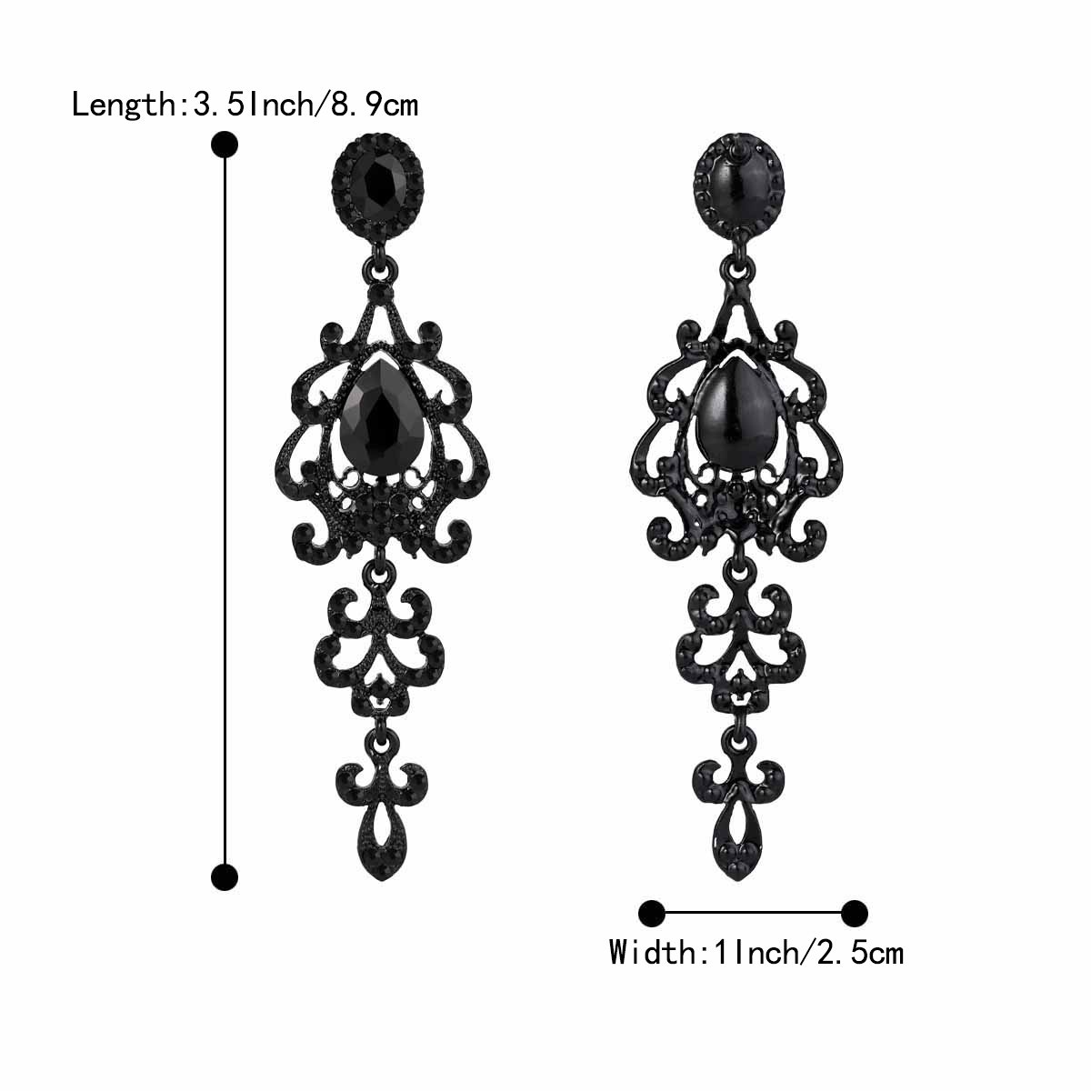 BriLove Women's Wedding Bridal Dangle Earrings with Victorian Style Crystal Teardrop Chandelier Black Black-Silver-Tone by BriLove (Image #5)