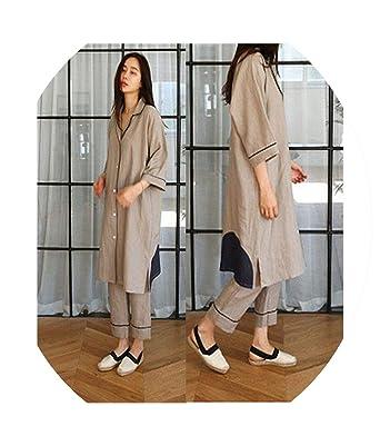 Cotton and Linen Pajamas Set Women s Cotton Simple Fashion Cotton Long  Ladies  Home Service bef04c8285