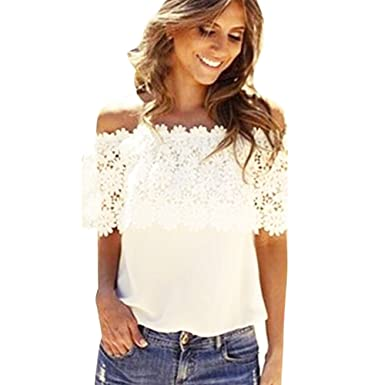 Dream Garden Fashion Women Tops Blouse Lace Crochet Chiffon Shirt ...