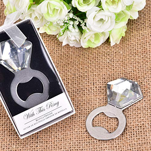 Yuokwer 24 pcs Shine Sparkle Pop Diamond Ring Bottle Opener for Wedding Party Favor with Exquisite Packaging, Wine and Beer Accessories Bottle Opener for Wedding Birthday (Diamond,Silver 24pcs)]()
