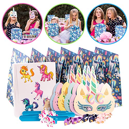 (Unicorn Party Supplies and Party favors for kids by Tulatoo - Perfect Goodie Bag For Birthday Parties and Decorations. Contains Slap Bracelets, Unicorn Toys, Masks, Stickers and Hair Ties )