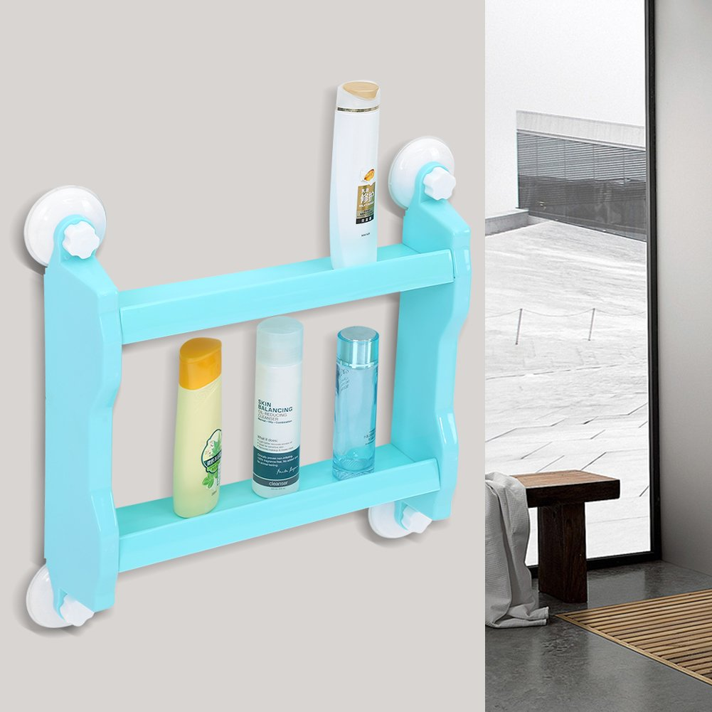 Bathroom Wall Mount Shelf, Kitchen Double Tiers Strong Suction Cup ...