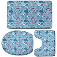 3 Piece Bath Mat Rug Set,Underwater,Bathroom Non-Slip Floor Mat,Marine-Theme-Cute-Cartoon-Sea-Animals-Octopus-Jellyfish-Aquarium-Kids-Room-Decor,Pedestal Rug + Lid Toilet Cover + Bath Mat,Multicolor