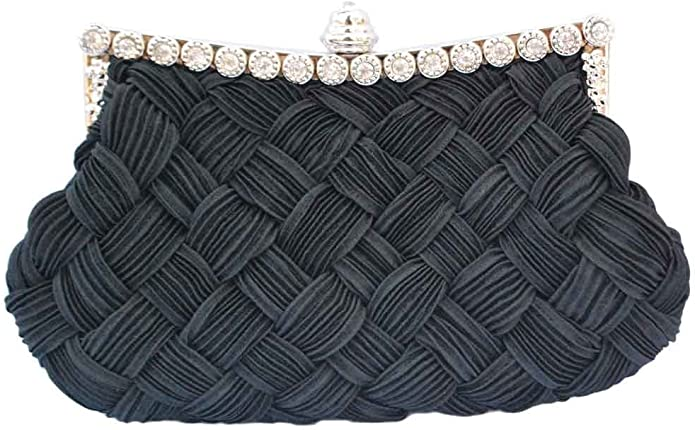 1940s Handbags and Purses History Chicastic Pleated and Braided Rhinestone studded Wedding Evening Bridal Bridesmaid Clutch Purse $11.99 AT vintagedancer.com