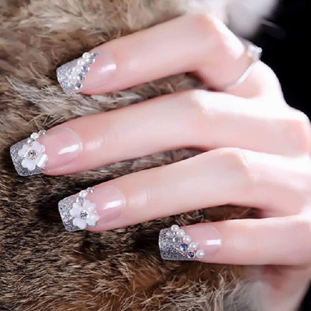 Amazon Com 24pc 3d Fake Nails Pretend Full Nails Patch Bride Bridesmaid Studio Wedding Nails Beauty