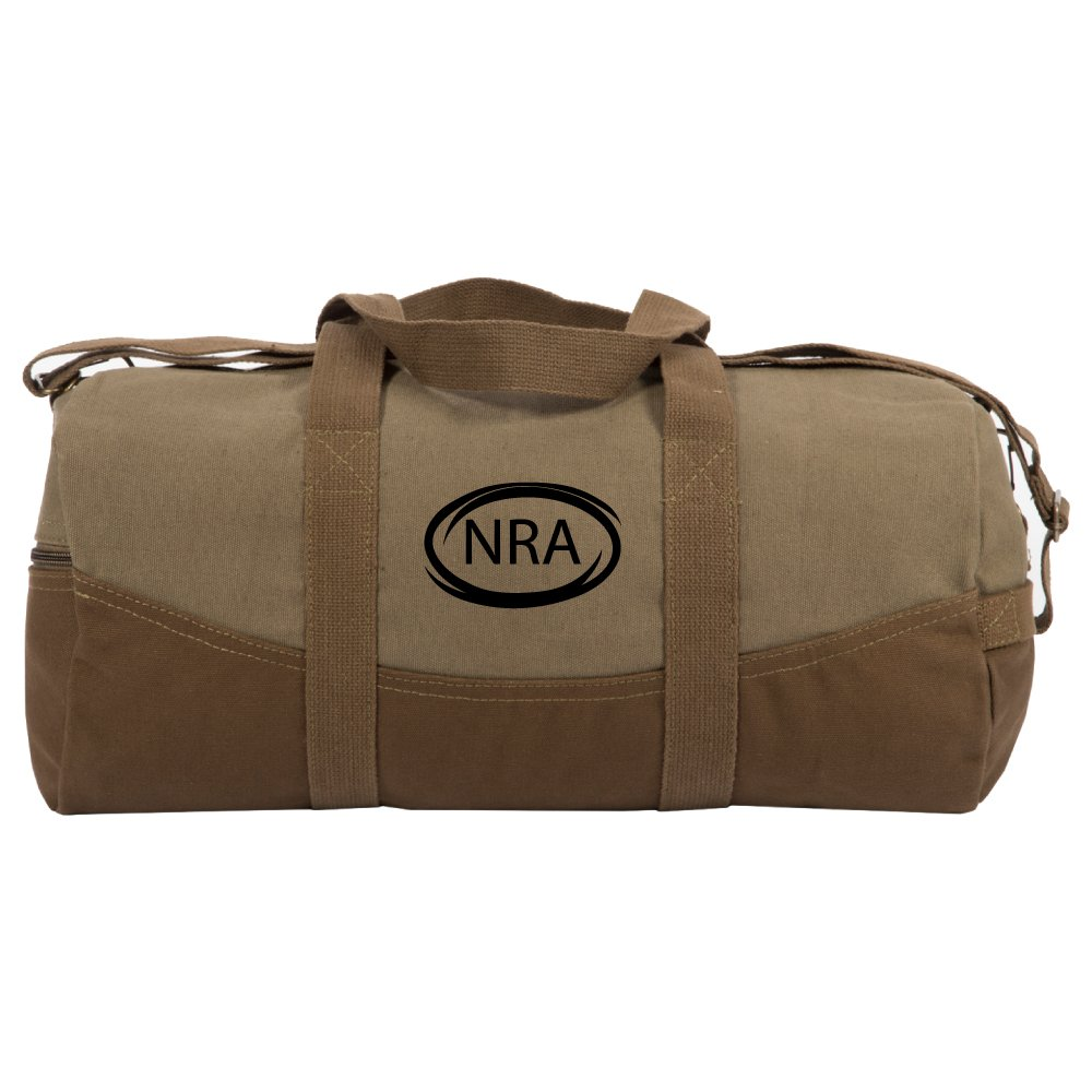 """NRA National Rifle Association Two Tone 19"""" Duffle Bag with Brown Bottom"""