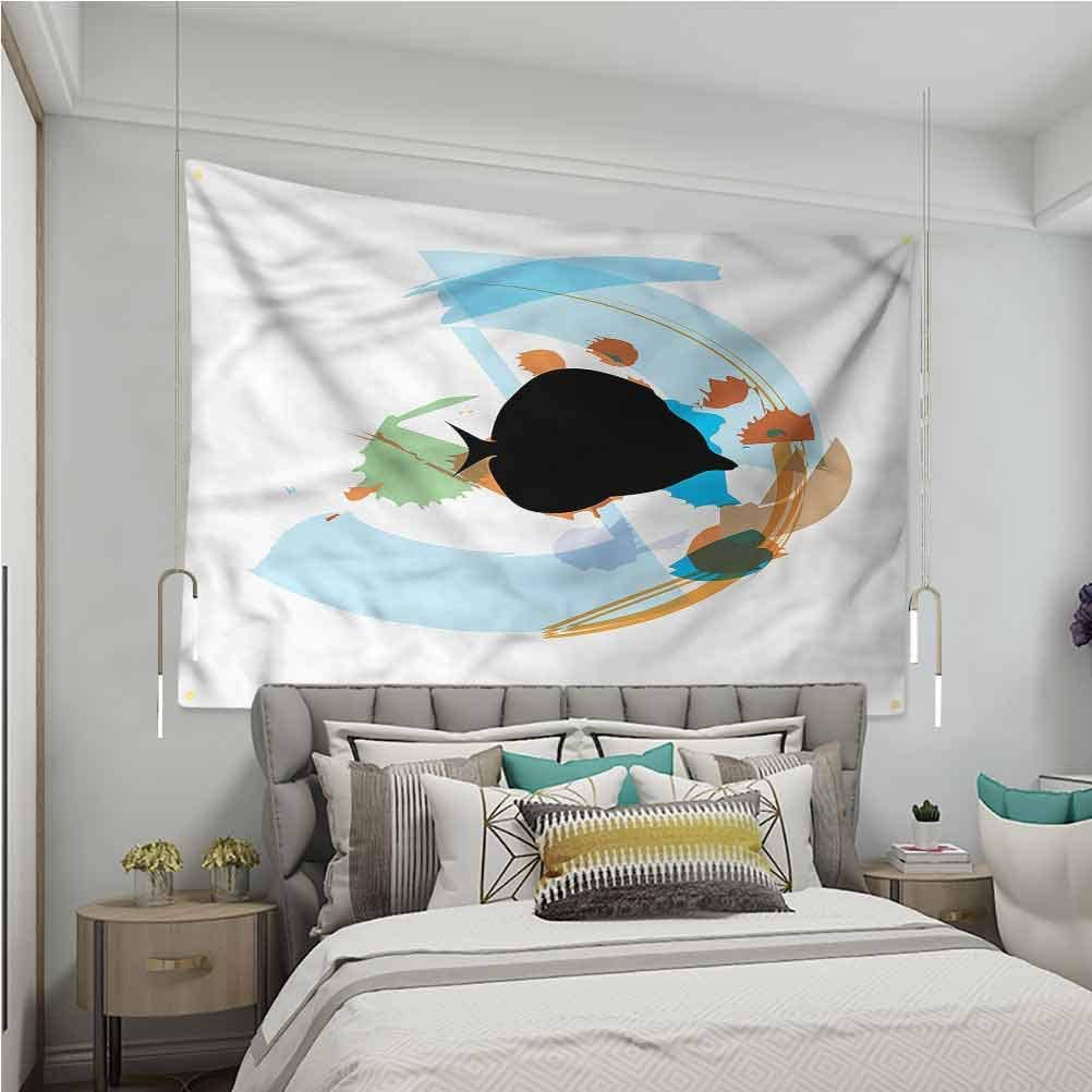 VVA Fish Tapestry Wall Hanging Discus Cichlid Silhouette Ream Wall Decor Blanket for Bedroom Home Dorm