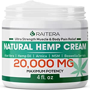 Raitera Hemp Cream for Pain Relief 12000MG, Pure Hemp Oil Extract, MSM, Arnica - Natural Ingredients - Max Strength Balm for Relief Arthritis, Carpal Tunnel, Back, Joint, Nerve, Fibromyalgia, Sciatica