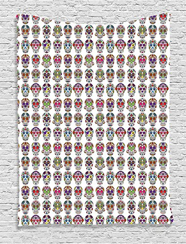 Skulls Decorations Tapestry By Ambesonne, Day Of The Dead Colorful Sugar Skulls With Flower Prints, Bedroom Living Room Dorm Decor, 40 W x 60 L (Sugar Skull Bedroom Decor)