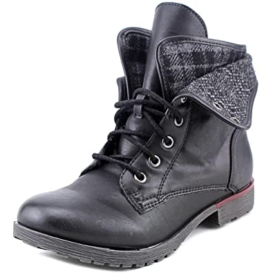 Womens Spraypaint Closed Toe Ankle Combat Boots Black Size 8.5
