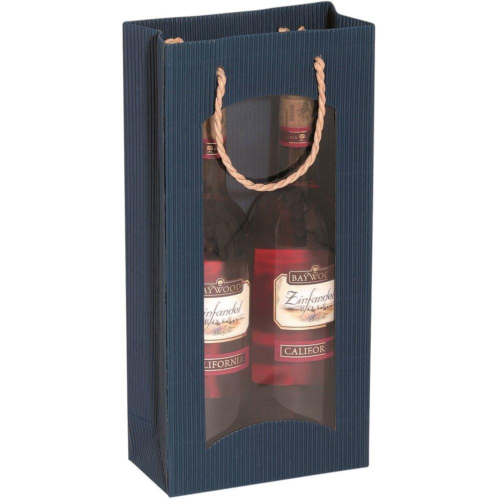 Karton-billiger Flaschentragetasche Tragetüte mit Fenster in 4 Farben für 1,2 oder 3 Flaschen, 20Stück (2 Flaschen, blau) B01E1IUS4E Flaschenkrbe & -trger