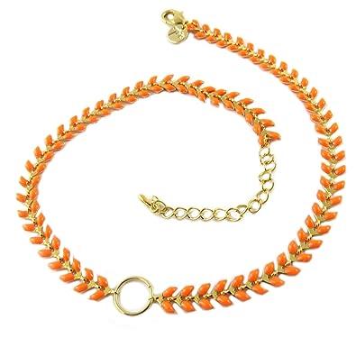 buy cheap los angeles so cheap 7 bis [Q1451] - Collier Artisanal 'Boho' Orange doré (Épi de ...