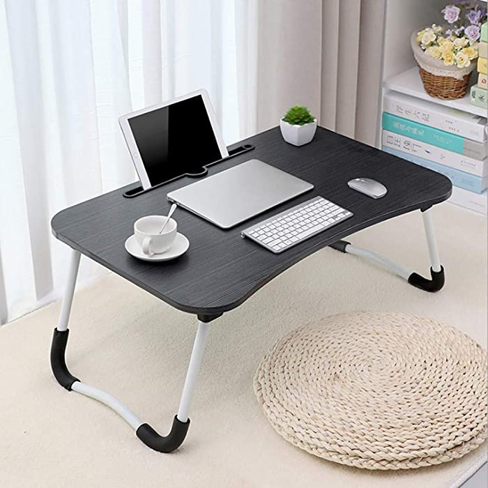 Laptop Bed Desk Table Tray Stand with Ipad,Portable Computer Tray for Bed, Foldable Bed Desk for Laptop and Writing in Sofa Couch Floor