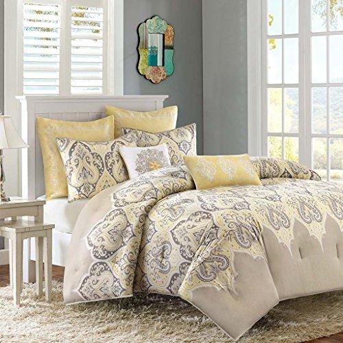 Madison  Nisha Comforter Set, Full/Queen, Yellow (Euro Comforter)