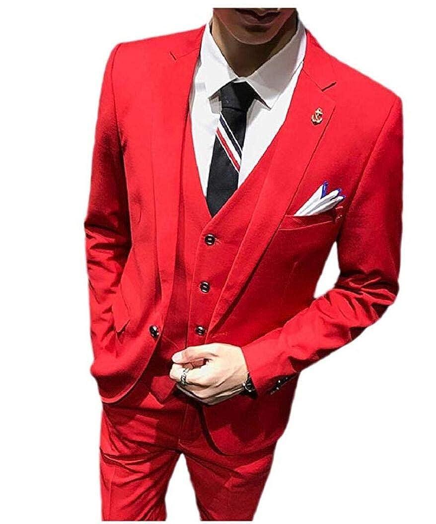 Men's Slim Fit 3 Pieces Suits Peak Lapel Wedding Suits Businesss Suit Blazer Vest Trousers