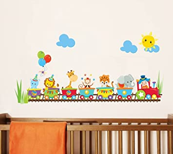 Cute Animals Circus Train Wall Stickers Nursery Wall Art Decorative Mural  Baby Bedroom Children Playroom Wall