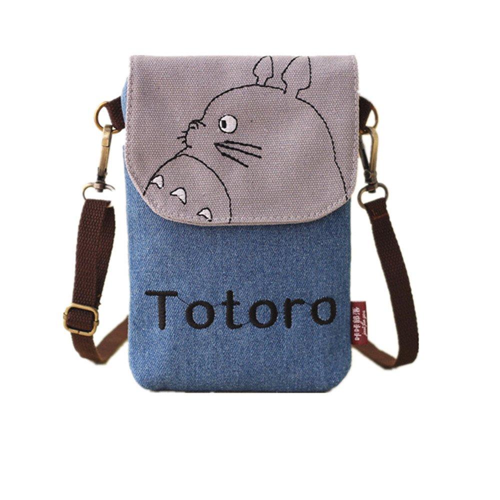 Abaddon Vintage Printed Handmade Women Mini Crossbody Bag Cellphone Pouch Small Handbag Coin Purse (blue totoro)