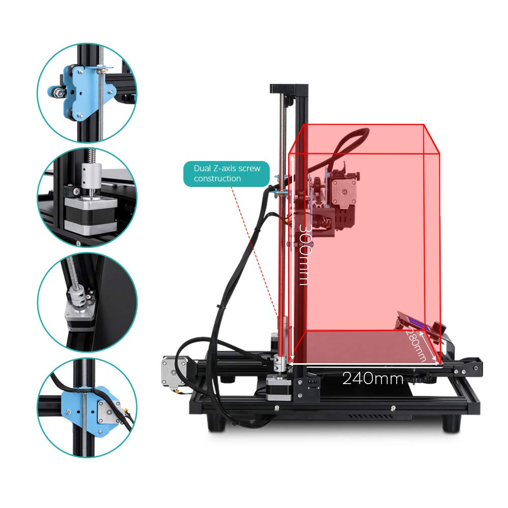 Sovol SV01 3D Printer Upgrade 95/% Pre-Assembled with Direct Drive Extruder Meanwell Power Supply and Glass Plate Built-in Thermal Runaway Protection 280x240x300mm
