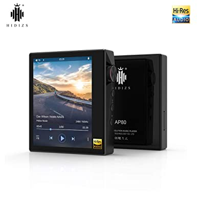 HIDIZS AP80 High Resolution Lossless MP3 Music Player with aptX,FLAC,Hi-Res  Audio,FM Radio,Hi-Fi Bluetooth Audio Player with Full Touch Screen (Black)