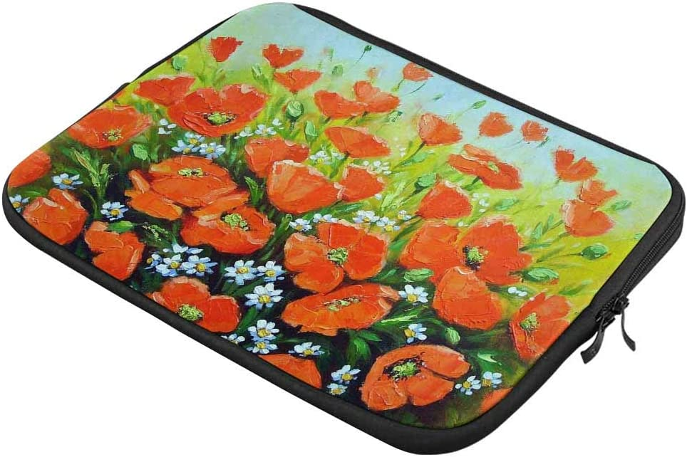 Poppies Floral Laptop Sleeve Case 13 13.3 Inch Briefcase Cover Protective Notebook Laptop Bag