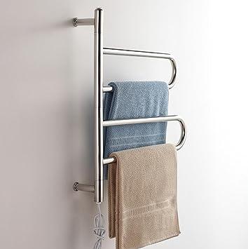WRH-towel warmer Giratorio montado en la Pared de Acero Inoxidable eléctrico toallero/radiador Baño/Calentador de Toallas 9009: Amazon.es: Hogar