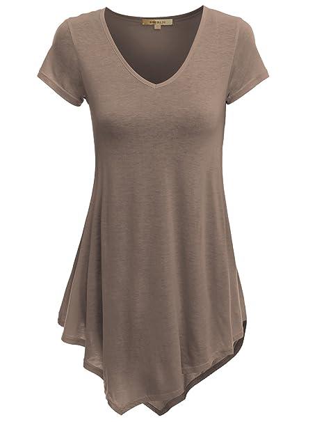 1c2f599f672 Doublju V-Neck Handkerchief Hem Long Tunic Shirt Top for Women with Plus  Size Cocoa