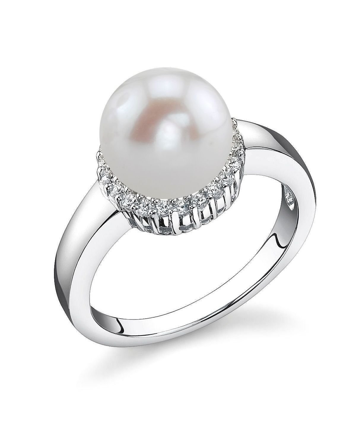 8mm White Freshwater Cultured Pearl Ashley Ring