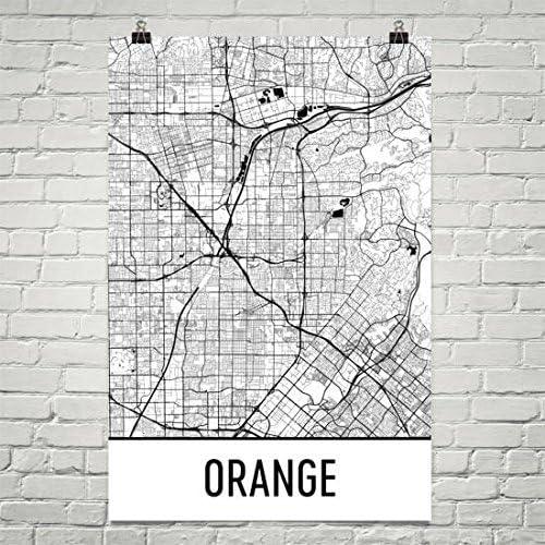 California CA USA Map Art Poster Orange Printable city street road map gift coworker Garden Grove Map Print NP119